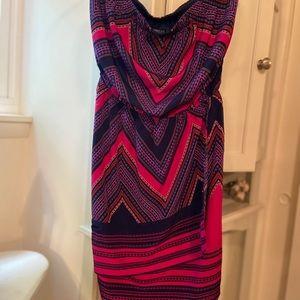 pink w/ dark blue details dress